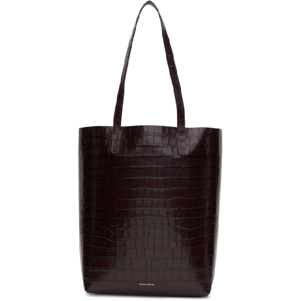 Mansur Gavriel Everyday Crocodile-Embossed Leather Tote Bag In Brown