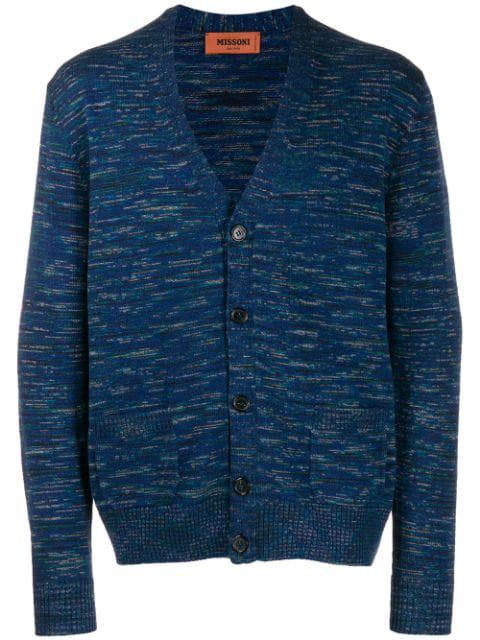 Missoni Striped Knit Wool Cardigan In Blue