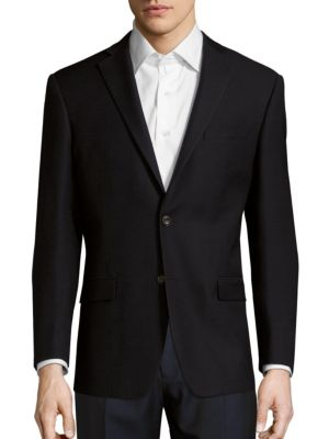 Michael Kors Solid Wool Jacket In Navy