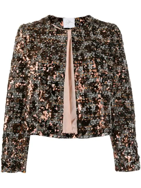 So Allure Sequined Cropped Jacket In Black