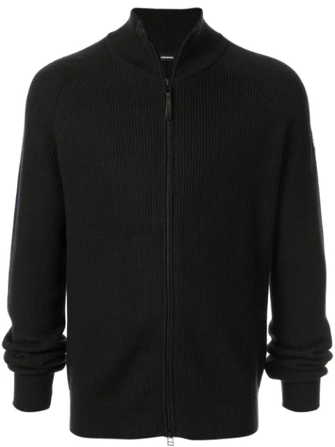 J.lindeberg Ribbed Zip-up Cardigan In Black