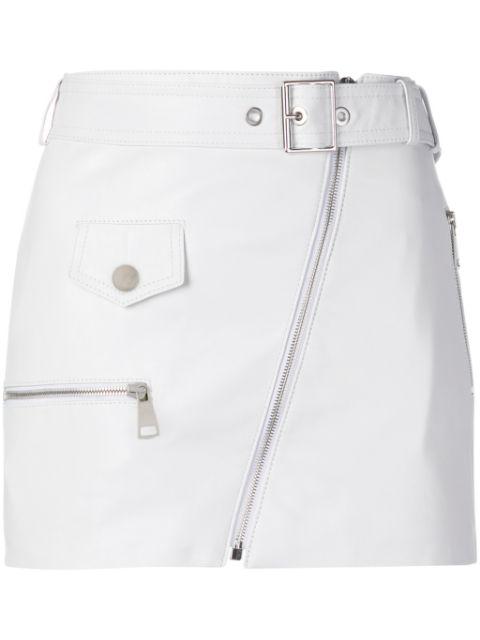 Manokhi Biker Belted Mini Skirt In White