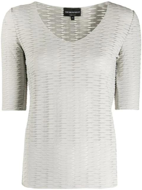 Emporio Armani Jacquard Effect T-shirt In Grey