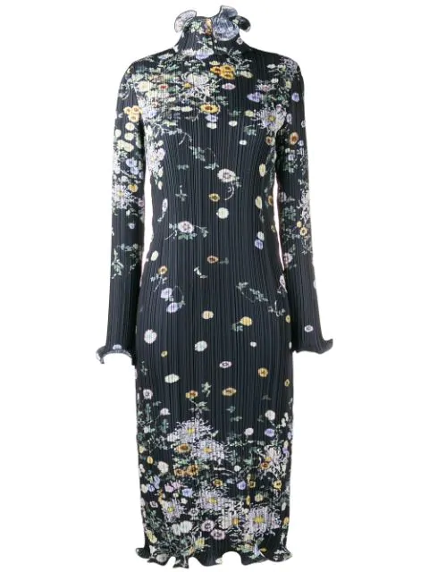 Givenchy Floral Midi Dress In Blue