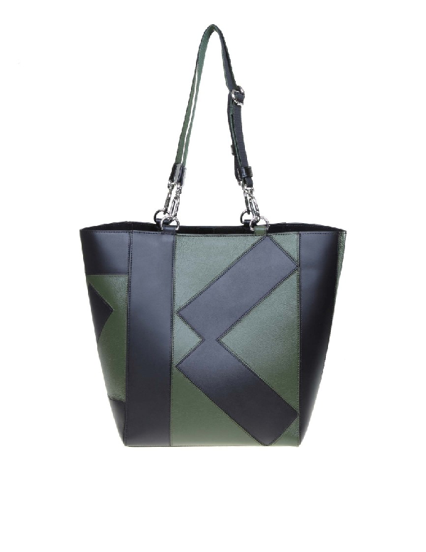 Kenzo Kube Tote Leather Bag In Green / Black Color In Grey
