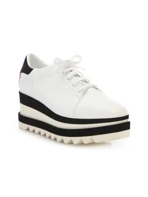 Stella Mccartney Sneak-Elyse Platform Wedge Sneakers In Wht-Rainbow/Blk/Bwb