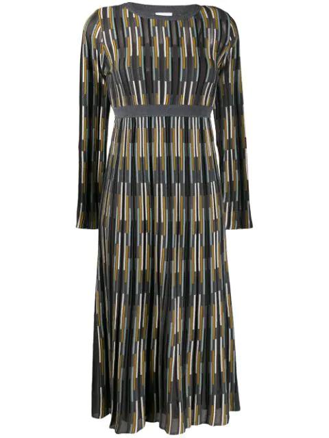M Missoni Intarsia Knit Dress In Grey