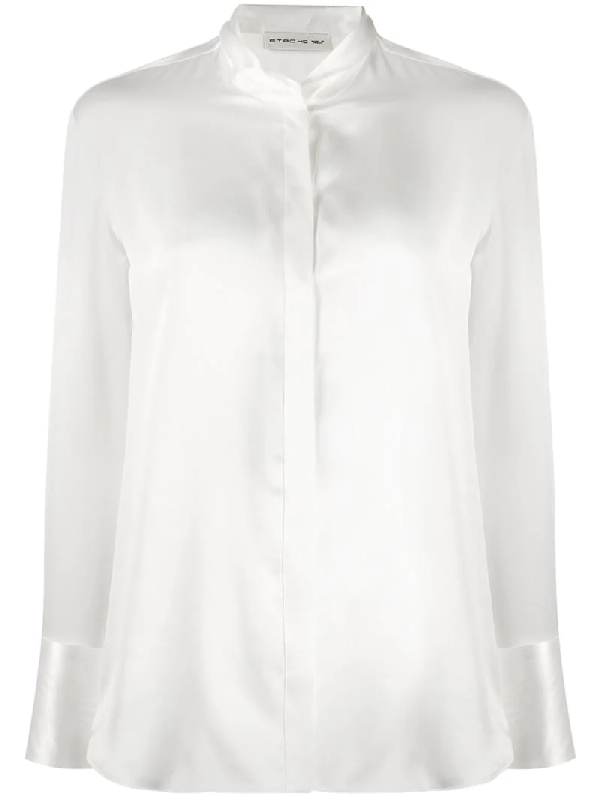 Etro Fitted Silk Blouse In White
