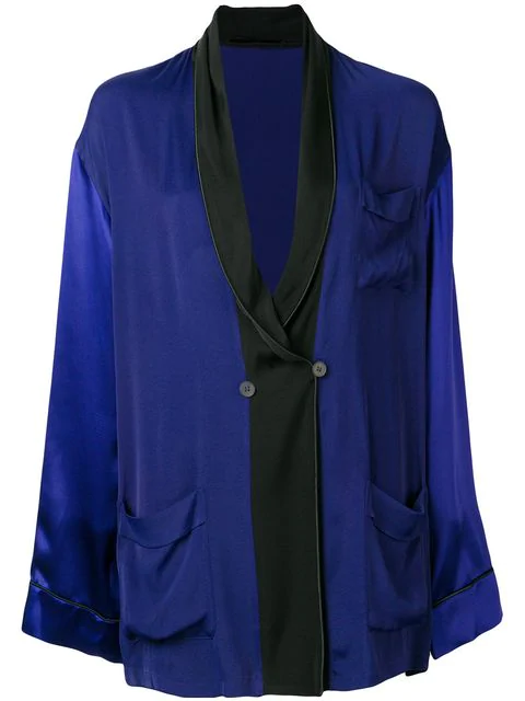 Haider Ackermann Oversized Shawl Lapel Blazer In Blue