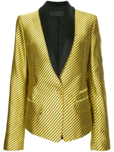 Haider Ackermann Contrast Lapel Blazer In Gold