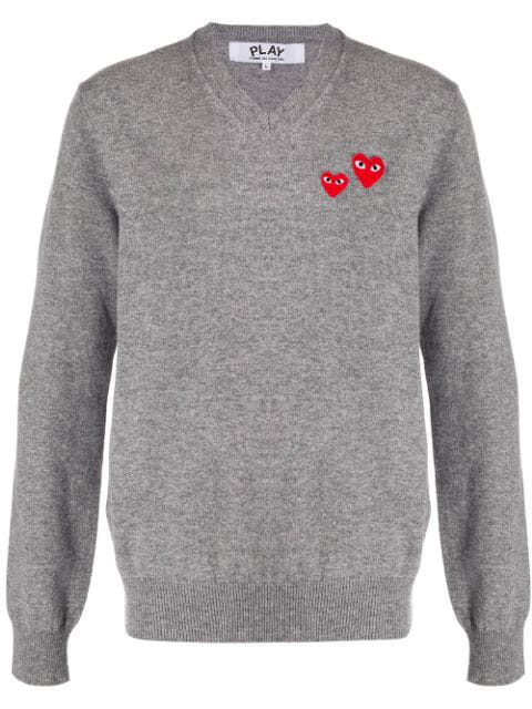 Comme Des Garçons Play Comme Des Garcons Play Double Heart V Neck Knit In Grey