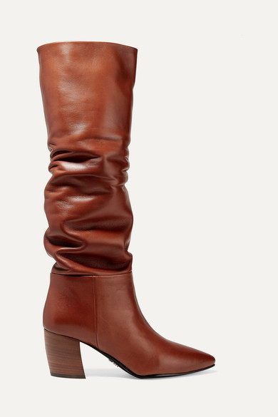 Prada Leather Knee-High Boots In Brown