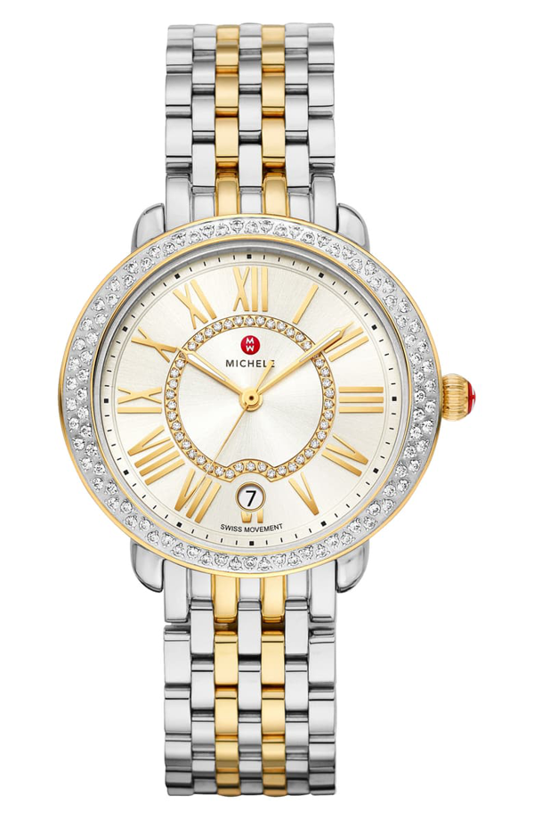 Michele Serein Mid Two-tone Stainless Steel Diamond Watch, 34mm X 36mm In Silver/ White Sunray/ Gold