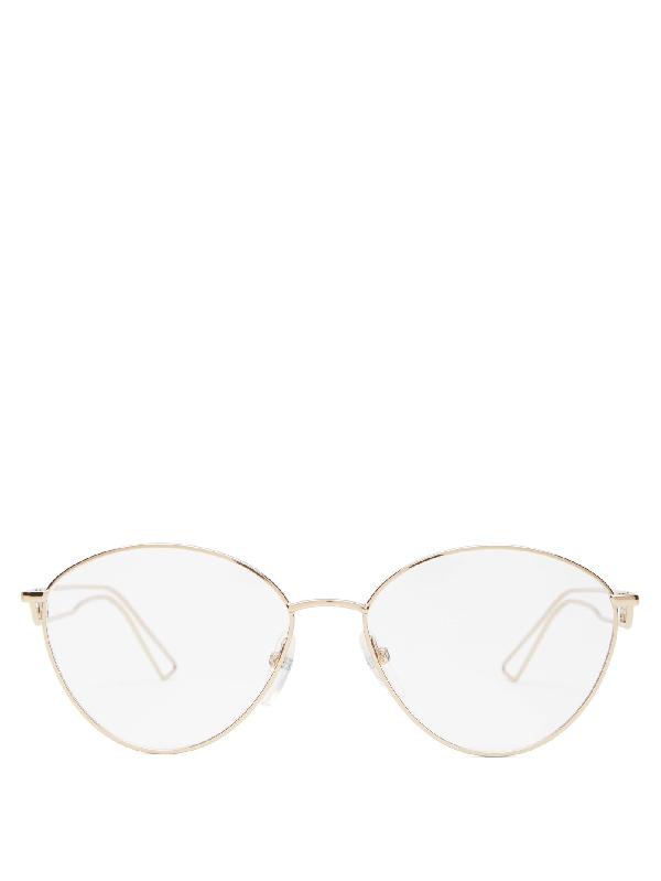 Balenciaga Round Metal Glasses In Brown