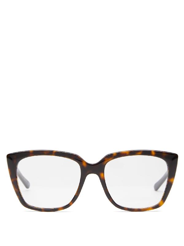 Balenciaga Square Tortoiseshell-effect Acetate Glasses