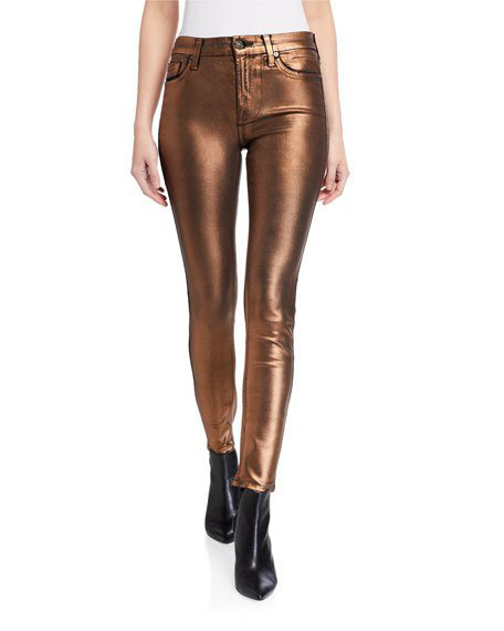 7 For All Mankind High-Waist Coated Metallic Ankle Skinny Jeans In Penymeta