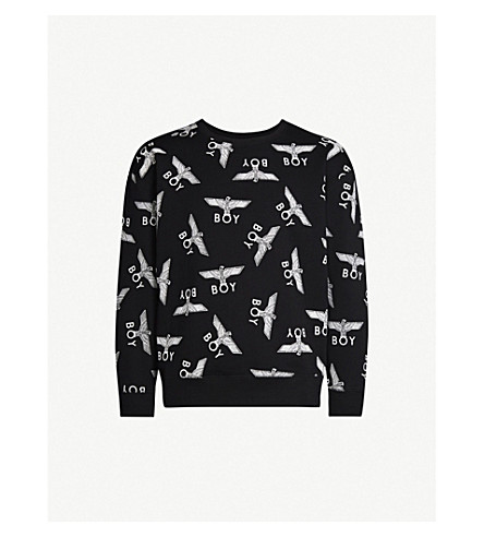 Boy London Logo-Print Cotton-Jersey Sweatshirt In Black/White