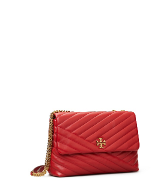 Tory Burch Kira Chevron Leather Crossbody Bag - Red In Red Apple
