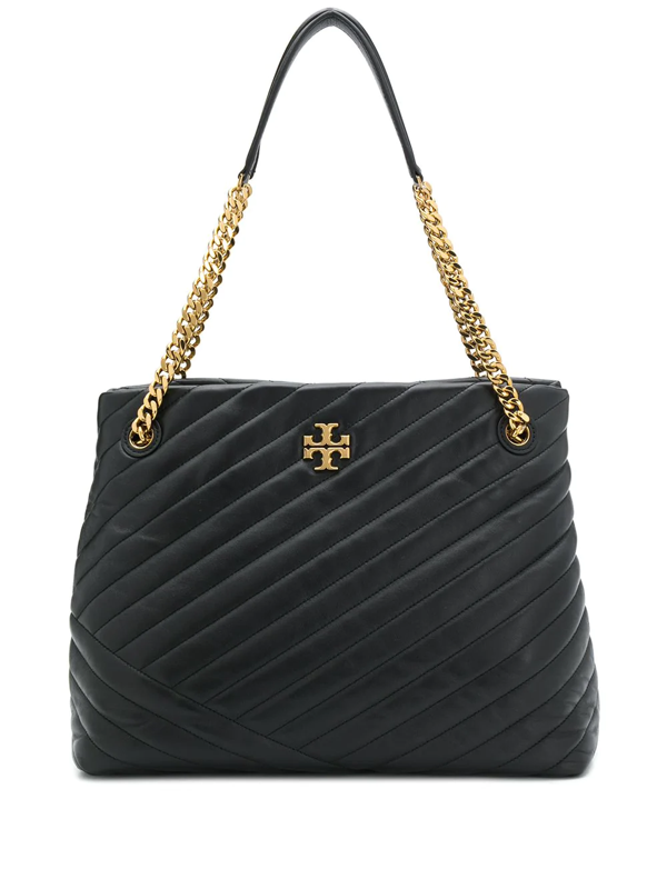 Tory Burch Kira Chevron Quilted Leather Tote In Black
