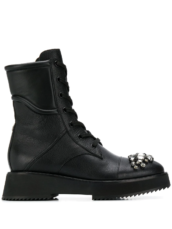 Jimmy Choo Hadley Crystal-Embellished Leather Combat Boots In Black/Black Diamond