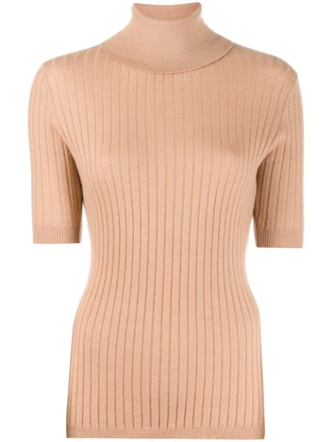 Cashmere In Love Ribbed Roll-neck Victoria Sweater In Neutrals