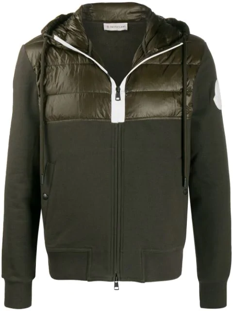 Moncler Padded Panel Track Jacket In Green
