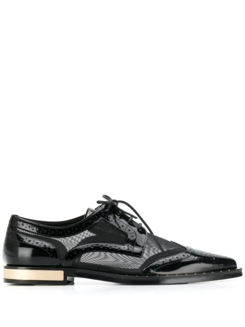 Dolce & Gabbana Brogue Detail Derby Shoes In Black