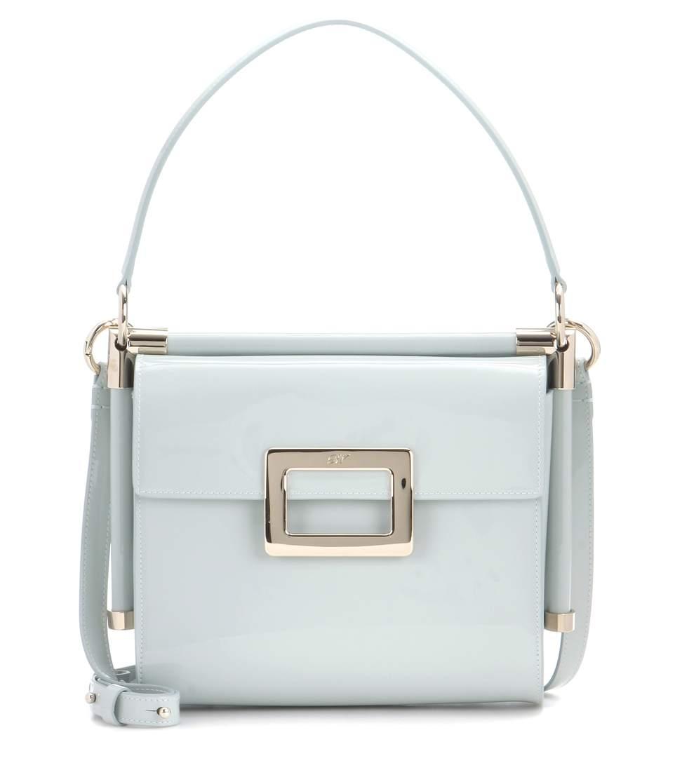 f7f66df3d4 Roger Vivier Miss Viv CarrÉ Small Patent Leather Shoulder Bag In Turquoise