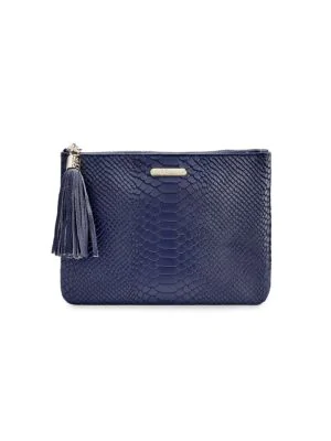 Gigi New York Women's All-in-one Python-embossed Leather Clutch In Ocean