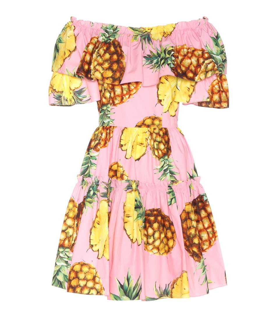 0216aece Dolce & Gabbana Pineapples Off The Shoulder Poplin Dress, Pink/Multi In  Aeaeas,