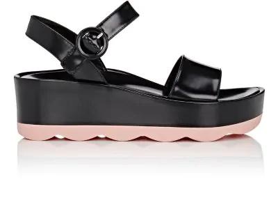 Prada Wavy-Sole Leather Platform-Wedge Sandals In Nero