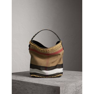 848c83bcc Burberry The Medium Ashby In Riveted Canvas Check And Leather In Black