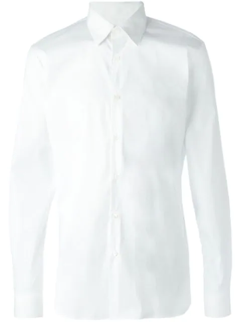 Burberry White Slim-fit Stretch Cotton-blend Poplin Shirt
