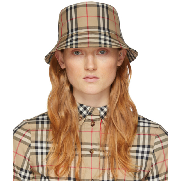 Burberry Vintage-check Cotton-blend Bucket Hat In Archive Bei