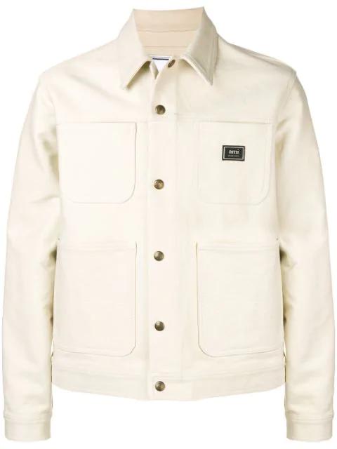 Ami Alexandre Mattiussi Utility Shirt Jacket In 150 Off-white