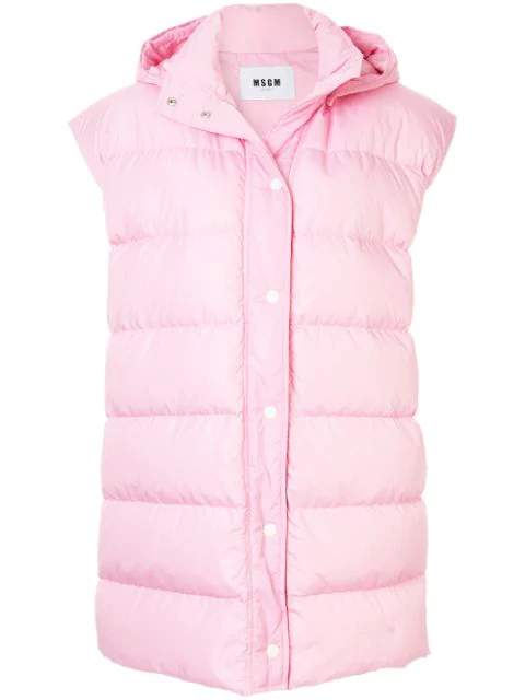 Msgm Hooded Padded Gilet In Pink
