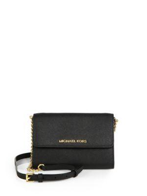 Michael Michael Kors Large Saffiano-Leather Phone Crossbody Bag In Black