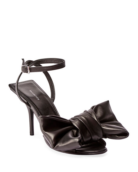 Balenciaga Square Knife Bow Sandals In Black
