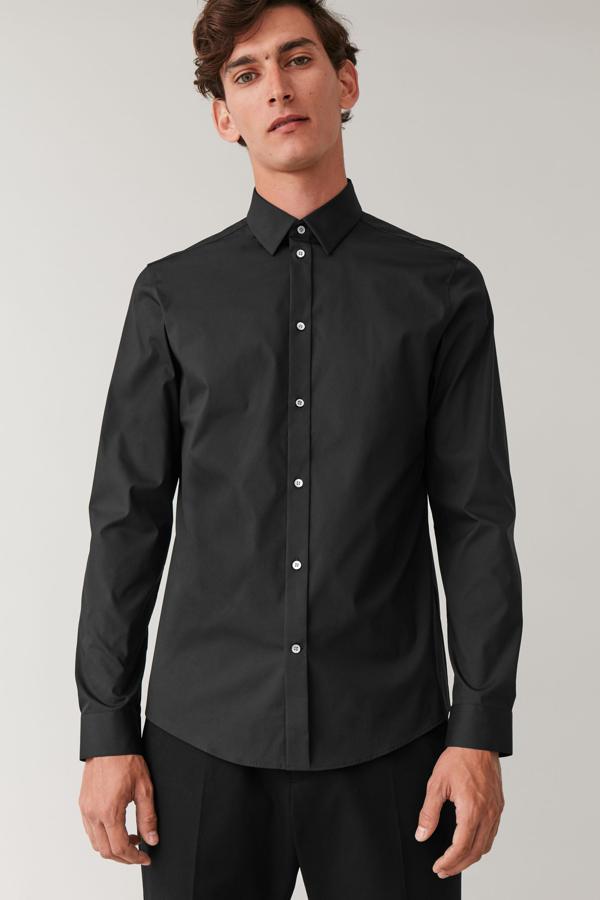 Cos Organic Cotton Classic Slim Fit Shirt In Black