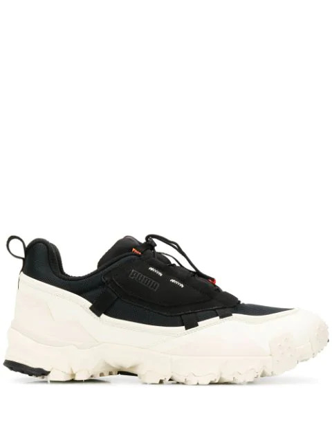 Puma Trailfox Overland  Black & White Leather Sneaker  <Br> In  Black-Whisper White