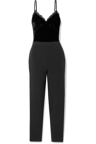 Michael Michael Kors Lace-trimmed Cady And Velvet Jumpsuit In Black
