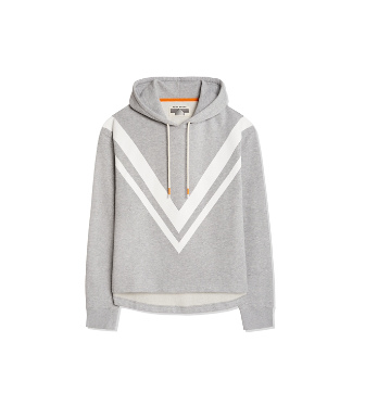 Tory Sport Chevron French Terry Hooded Sweatshirt In Medium Grey Heather