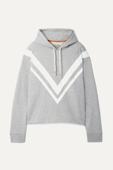 Tory Sport Chevron French Terry Hooded Sweatshirt In Gray