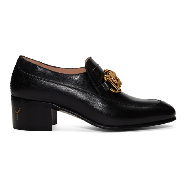 Gucci Women's Leather Horsebit Chain Loafers In 1000 Black