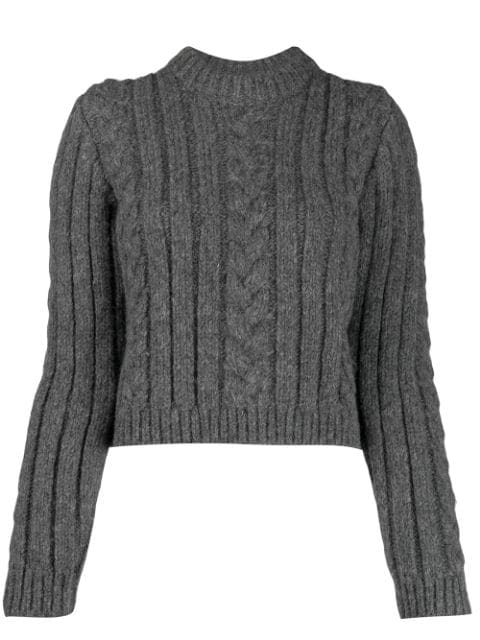 Ganni Cable Knit Alpaca-blend Sweater In Grey