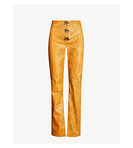 Leo Gaia Relaxed-fit Faux-snakeskin Trousers In Orange