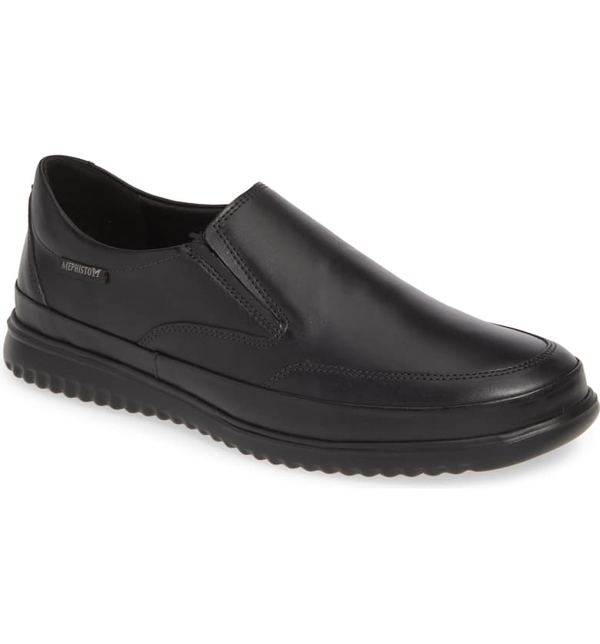 Mephisto Men's Twain Slip-on Leather Sneakers In Black Leather