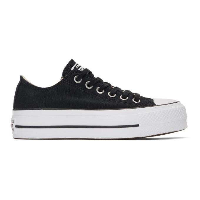 Converse Chuck Taylor All Star Glitter Lift Ox Platform Sneaker In Black/ White/ White/ White