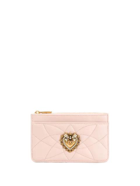 Dolce & Gabbana Medium Devotion Cardholder In Pink