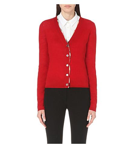 dc9d569f58369 Burberry Check Placket Wool Cardigan In Military Red